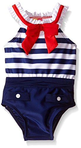Sol Swim Little Girls Miss Sailor Girl Swimsuit, Navy, 4