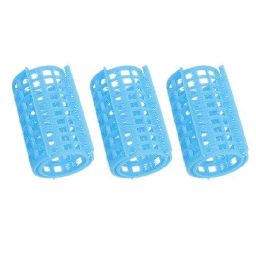 Home Salon DIY Hairstyling Tool Blue Plastic Hair Curler Roller 3 Pcs