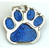 Glitter Pet Tag Blue Paw Print Design 26mm S/Steel From Melian - MESSAGE US WITH TEXT REQUIRED