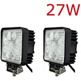 2 x LED Scheinwerfer 27W 2500Lumen 9-30V Arbeits & Rückfahrscheinwerfer L.E.D. Lampe 12V 24V