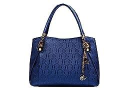 Di Grazia Stylish European (3in1; Combo) Italian PU Leather Womens Shoulder Satchel Handbag - Sapphire Blue