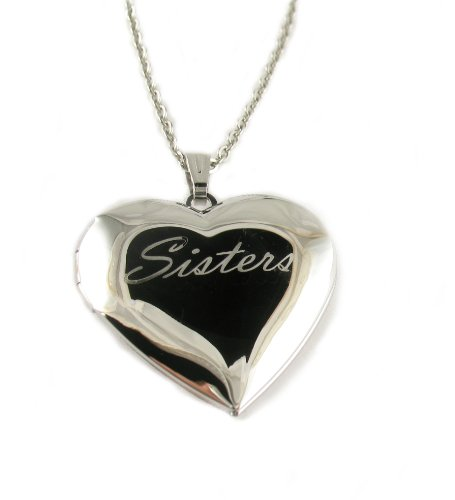 Sisters Heart Locket Pendant Necklace, 18