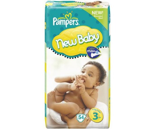 Pampers New Baby Nappies (size 3: 4-7 kg) - 1 Economy Pack containing 54 nappies (Nappies and baby wipes , Disposable nappies )