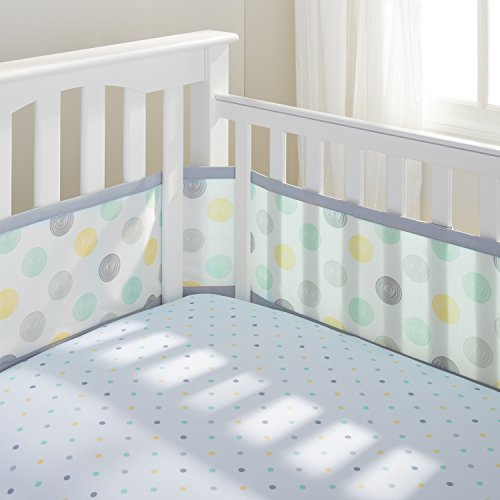 Great Deal! BreathableBaby Mesh Crib Liner, Aqua Mist Swirl, Aqua/Gray/Sage