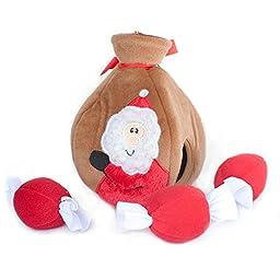 ZippyPaws Holiday Santa\'s Gift Bag Burrow Squeaky Plush Hide and Seek Dog Toy