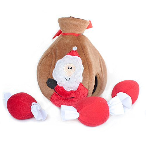 Santa's Gift Bag Plush Hide and Seek Dog Toy