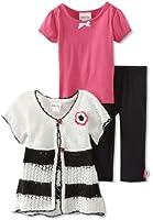 Little Lass Little Girls' 3 Piece Sweater Set with Capri and Crochet Flower