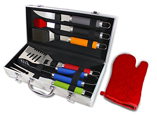 Chef Basics Colorful 7 Piece BBQ Tool Set And Aluminum Case by KOVOT (Bbq Tools With Case compare prices)