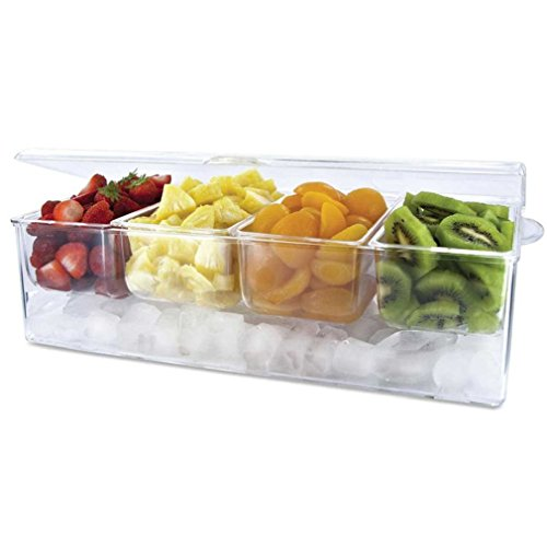 Quality Frigidaire Chilled Acrylic Condiment Server 4 Removable Compartment & Hinged Lid