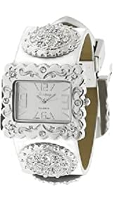 GENEVA PLATINUM 12954912 Western Style Fleur de Lis Cowgirl Watch - WHITE