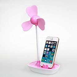 LAAGIE MINI USB Fan with Mobile Phone Stand holder USB or Battery Powered Desktop Mini Cooling Fan with Bracket Pink Pink