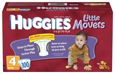 Hies Little Movers Diapers, Size 4, 100-Count