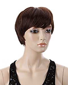 Cool2day Cosplay Short Fashion Women Layered Hair Party Wig (Model:Jf010423)(Dark Brown)