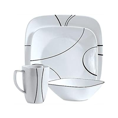 World Kitchen 1069983 Simple Lines Square Dinnerware 16-Piece Set