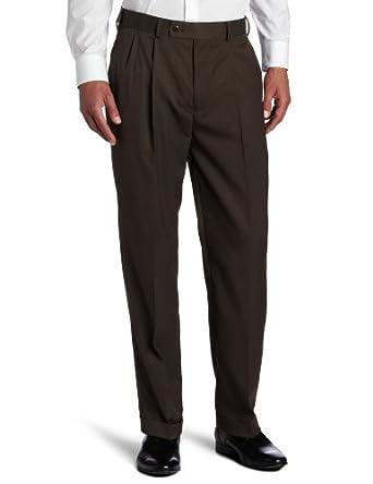 Louis Raphael Men's Neat Tic Comfort Waist Pleated Dress Pant, Chocolate, 30x30