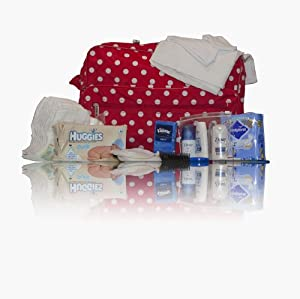 Luxury red polka dot pre-packed hospital/maternity/changing bag - Dove & Colgate