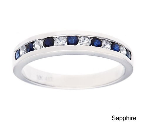 White Gold 1/2ct Genuine Sapphire Anniversary Wedding Band Ring