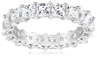 Sterling Silver Swarovski Zirconia Princess Cut Eternity Ring from Elite Group International NY Inc.- ACC