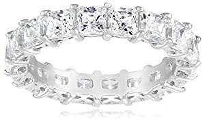 Sterling Silver Swarovski Zirconia Princess Cut Eternity Ring from Elite Group International NY Inc.- ACC