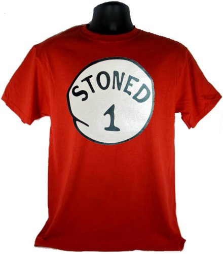 Stoned 1 One Funny Costume Red Adult T-Shirt Tee