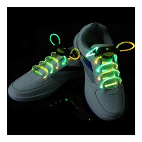 Agptek® In Pair Green/Yellow Led Light Up Waterproof Shoelaces - 3 Modes (On, Strobe & Flashing), 2 Feet Long, Battery Powered