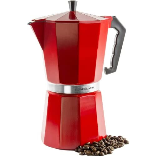 Andrew James 12 Cup Red Espresso Coffee Percolator In A Traditional Italian Style Design For Stove Tops - Includes...