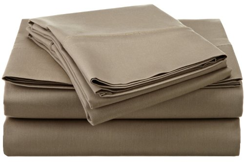 Luxury Linens 440 Thread Count 100-Percent Combed Cotton Queen Sheet Set, Taupe front-658535