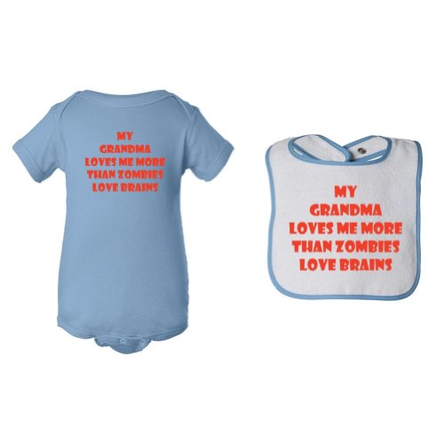 So Relative! Unisex Baby 2-Pack My Grandma Loves Me Zombie Bodysuit & Piping Bib (6 Months) front-650725