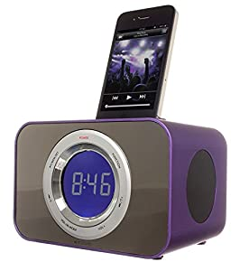 KitSound Clock Radio Dock for iPhone 3G, 3GS, 4, 4S, iPod Nano 5th Generation and iPod Touch 4th Generation - Purple
