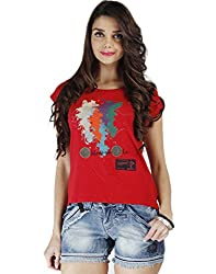 Chlorophile Women's Round Neck T-Shirt (Wcr_Pepper Red_6)