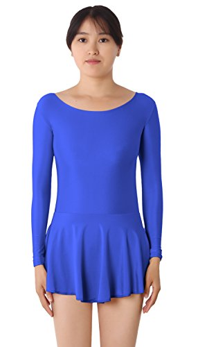 [JustinCostume Women's Lycra Spandex Long Sleeve Ice-Skating Dress Dance Leotard, Blue, S] (Ice Skating Dress Costumes)