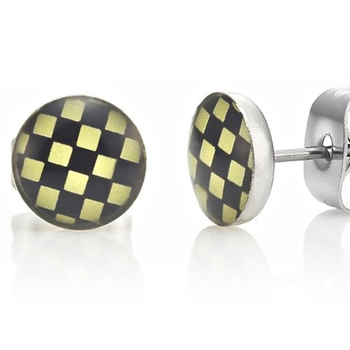 Racing Style Stainless Steel Stud Earrings for Men Black Yellow