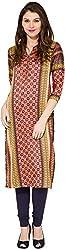 Folklore Women's Straight Kurta (FOKU001777_Red_S)