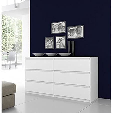 FINLANDEK Commode NATTI 154cm blanc brillant