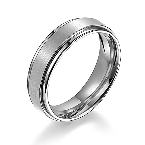 6mm Matte Step Edge Light Weight Titanium Ring Highly Durable Wedding Band White Couple Rings Tungsten Bands (10.5) (Platinum Wedding Band Couple compare prices)