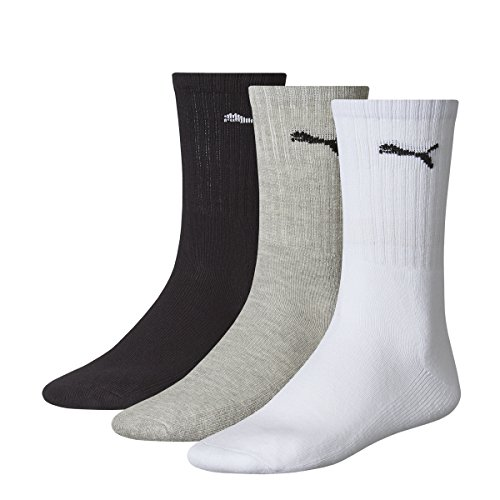 Puma Sport 3P, Calza lunga sportiva, Bianco (Blanc/Gris/Noir), 43/46