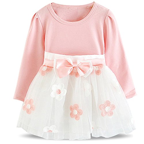 NNJXD Baby Girl Long Sleeve Cotton Kids Casual School Dress for Children Size 6-9 Months Pink