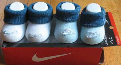 Nike Newborn Infant Baby Socks Booties Crib Shoes Blue/white Blue with Plaid, 0-6 Months. 2 Pair Great Baby Gift Set