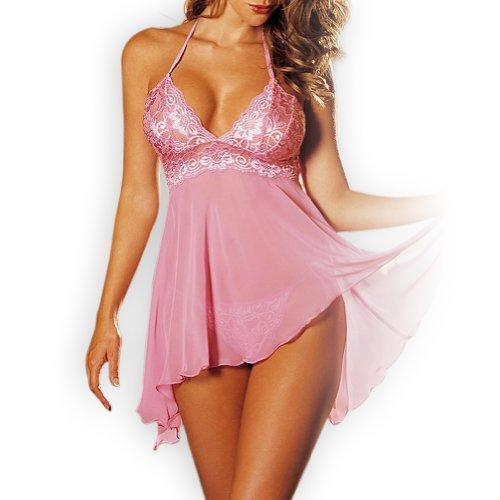 Stay Damen Sexy Babydoll Negligee Dessous Nachtwäsche Minikleid Blau Rosa-Pink