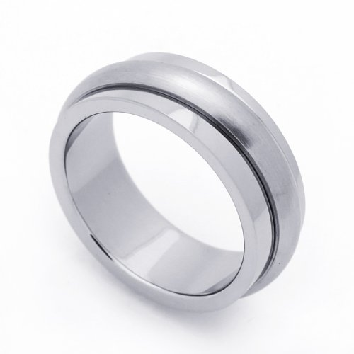 8MM Stainless Steel Domed Center Spinner Wedding Band Ring (Size 7 to 14) Size 11