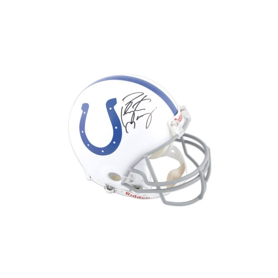 Peyton Manning   Half Indianapolis Colts and Half Super Bowl XLIV Logo   Autographed Pro Line Helmet