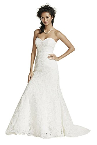 Oleg Cassini Strapless Lace Trumpet Wedding Dress Style CRL277, Ivory, 14