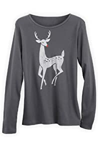 Green 3 Apparel Long sleeve Art Deco Deer Organic Made in USA Tee