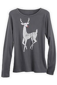 Green 3 Apparel Long sleeve Art Deco Deer Organic Made in USA Tee