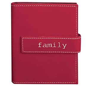 """Pioneer Photo Albums 36-Pocket 5 by 7-Inch Embroidered """"Family"""" Strap Sewn Leatherette Cover Photo Album, Mini, Burgundy"""