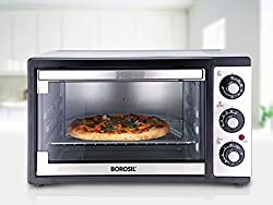 Borosil Prima 19 Liter 1300 Watt Convection Oven Toaster Griller (OTG), Shiny Silver Body