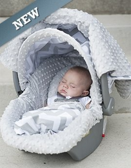Carseat Canopy 5 Pc Whole Caboodle Baby Infant Car Seat Cover Kit with Minky Fabric (Chevy) - 1