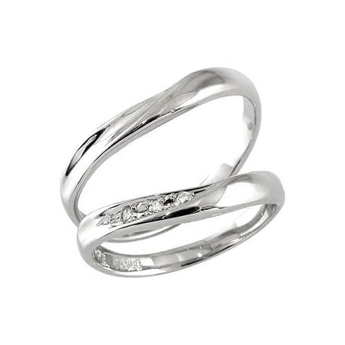 [アトラス] Atrus 結婚指輪 ペアリング カップル マリッジリング リング 指輪 ダイヤモンド ダイヤ ホワイトゴールドK10 K10 ハンドメイド 2本セット