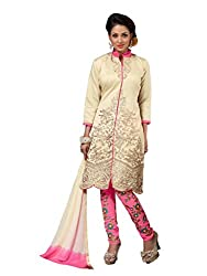 Manthan Beige Embroidered Un-Stitched Straight Suit
