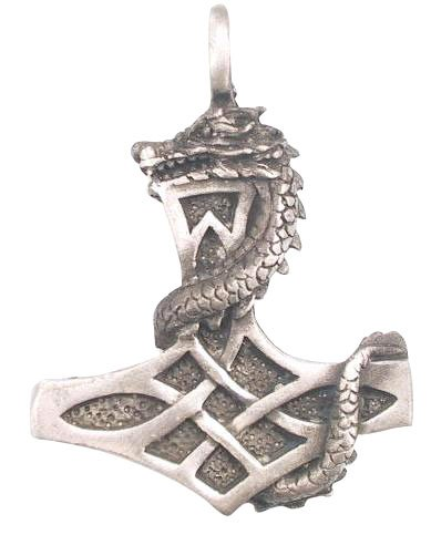 Thor Dragon Thor's Hammer Real Pewter Pendant Necklace